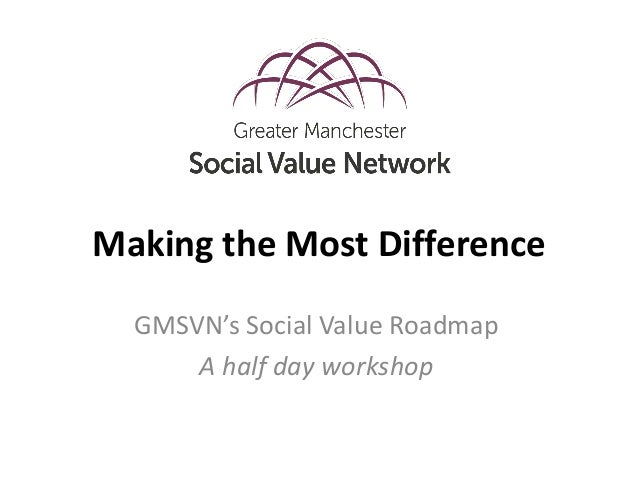 Making the Most Difference GMSVN's Social Value Roadmap A half day workshop