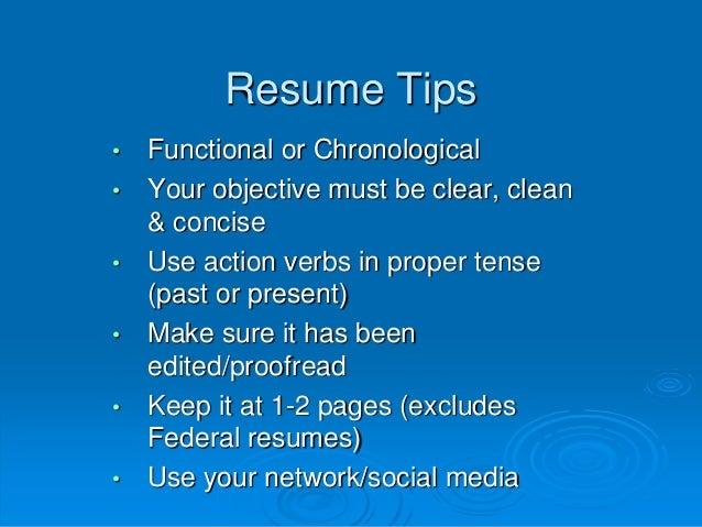 proper tense for resume