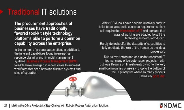 |21 Traditional IT solutions The procurement approaches of businesses have traditionally favored tool-kit style technology...