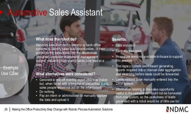 | What does the robot do? Harvests data from motor dealership back-office systems to identify sales lead opportunities. It...