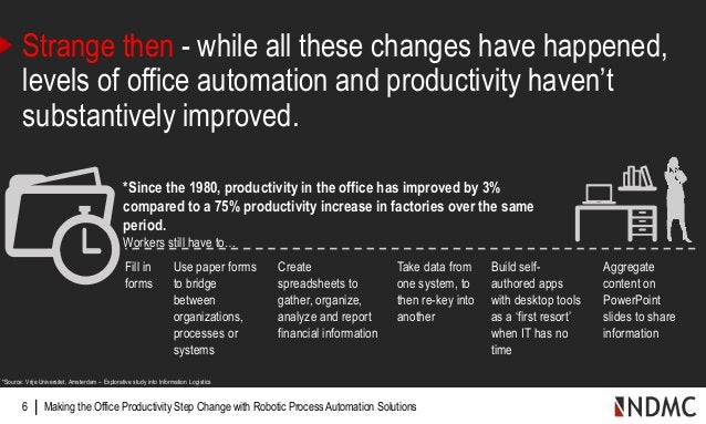 | Making the Office Productivity Step Change with Robotic Process Automation Solutions6 Strange then - while all these cha...