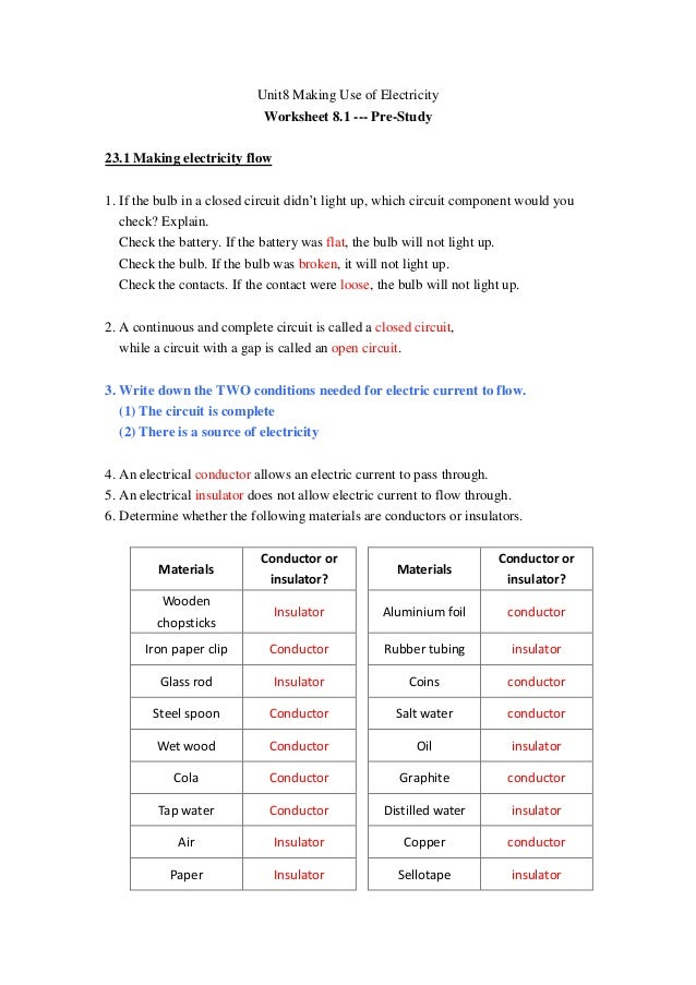 Unit8 Making Use of Electricity                             Worksheet 8.1 --- Pre-Study23.1 Making electricity flow1. If t...
