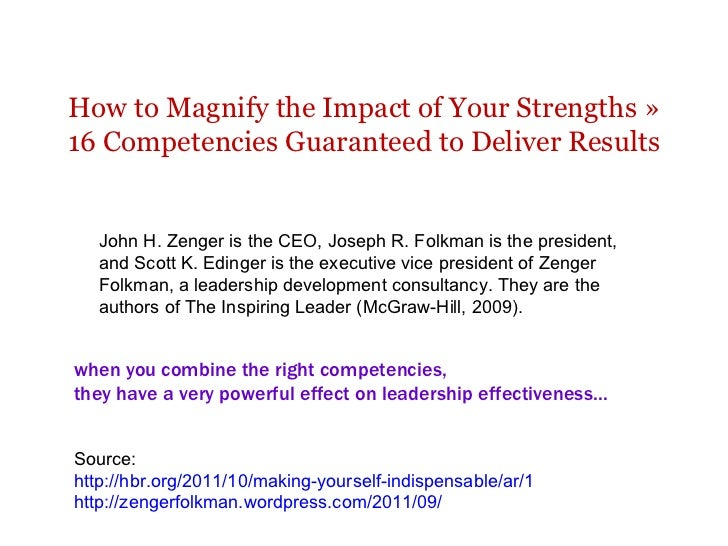 How to Magnify the Impact of Your Strengths » 16 Competencies Guaranteed to Deliver Results when you combine the right com...
