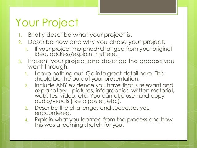 Making your senior project presentation – Project Presentation