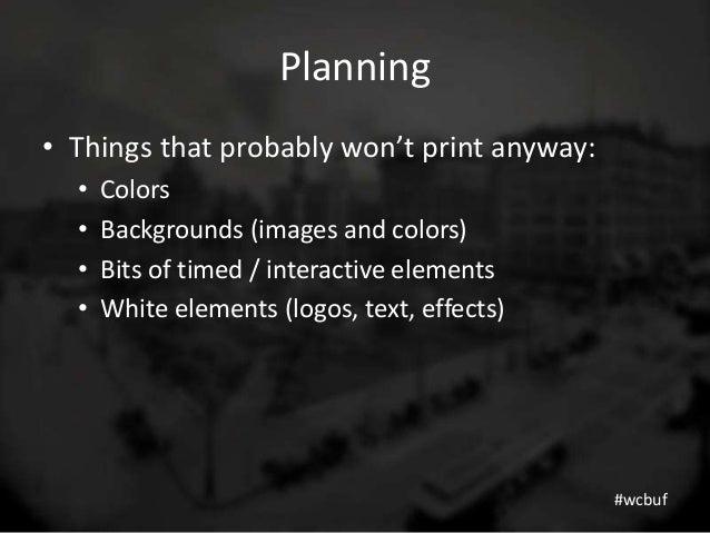 Making Your Site Printable WordCamp Buffalo 2013
