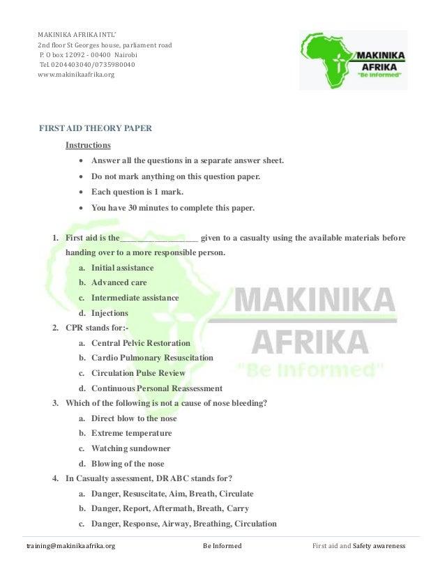 makinikaa first aid exam. Black Bedroom Furniture Sets. Home Design Ideas