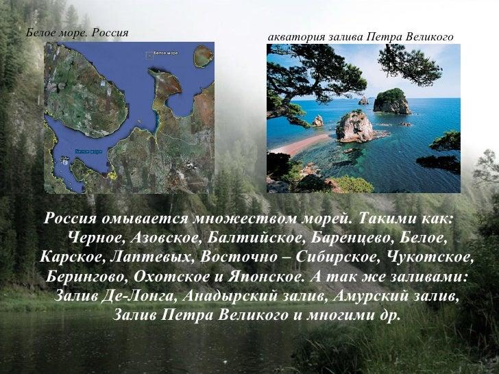 Белое море. Россия          акватория залива Петра Великого       Россия омывается множеством морей. Такими как:      Черн...