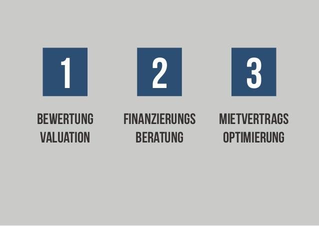 1  2  3  bewertung valuation  FINANZIERUNGs beratung  MIETVERTRAGS optimierung