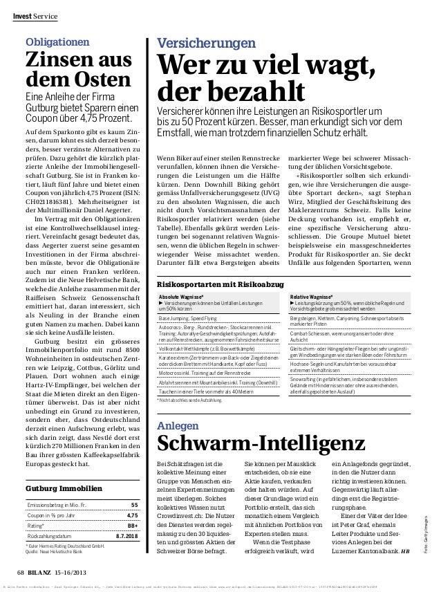 Obligationen  Zinsenaus  demOsten  Eine Anleihe der Firma  Gutburgbietet Sparern einen  Coupon über 4,75 Prozent.  68 BILA...