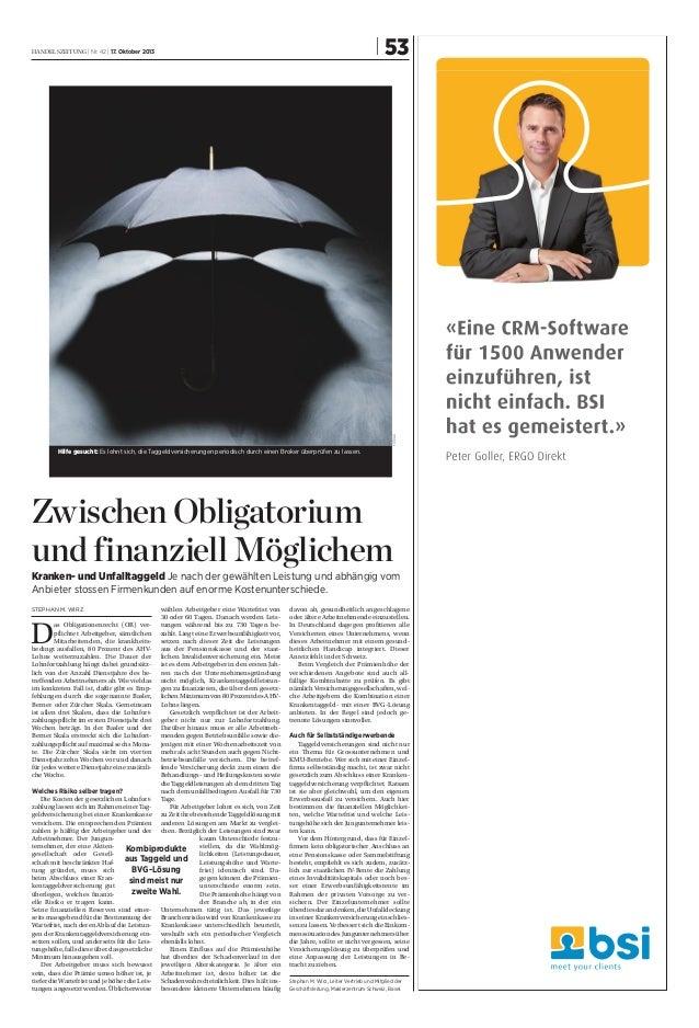 | 53  fotolia  handelszeitung | Nr. 42 | 17. Oktober 2013  Hilfe gesucht: Es lohnt sich, die Taggeldversicherungen periodi...