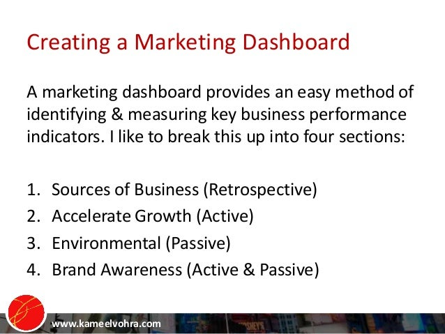 www.kameelvohra.com A marketing dashboard provides an easy method of identifying & measuring key business performance indi...