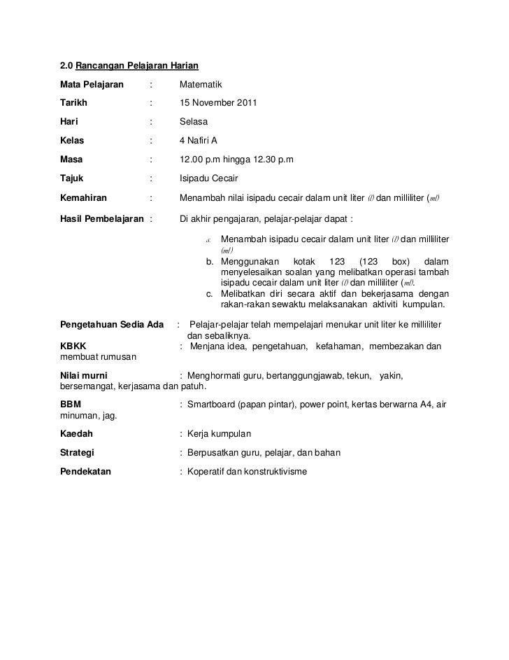 2.0 Rancangan Pelajaran HarianMata Pelajaran      :         MatematikTarikh              :         15 November 2011Hari   ...