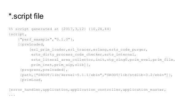 "*.script file %% script generated at {2017,3,12} {10,24,44} {script, {""perf_example"",""0.1.0""}, [{preLoaded, [erl_prim_load..."
