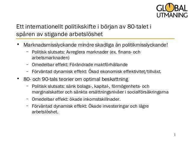 Ett internationellt politikskifte i början av 80-talet i spåren av stigande arbetslöshet • Marknadsmisslyckande mindre ska...
