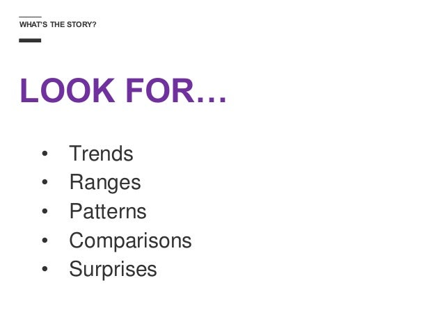 WHAT'S THE STORY? LOOK FOR… • Trends • Ranges • Patterns • Comparisons • Surprises