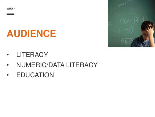 WHO? AUDIENCE • LITERACY • NUMERIC/DATA LITERACY • EDUCATION