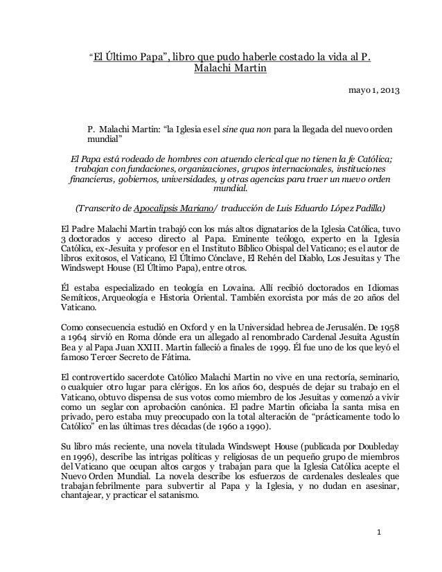 """1 """"El Último Papa"""", libro que pudo haberle costado la vida al P. Malachi Martin mayo 1, 2013 P. Malachi Martin: """"la Iglesi..."""
