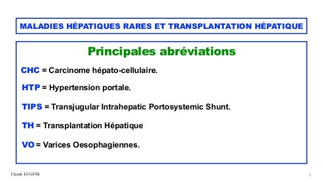 Maladies hépatiques rares et transplantation hépatique Slide 3