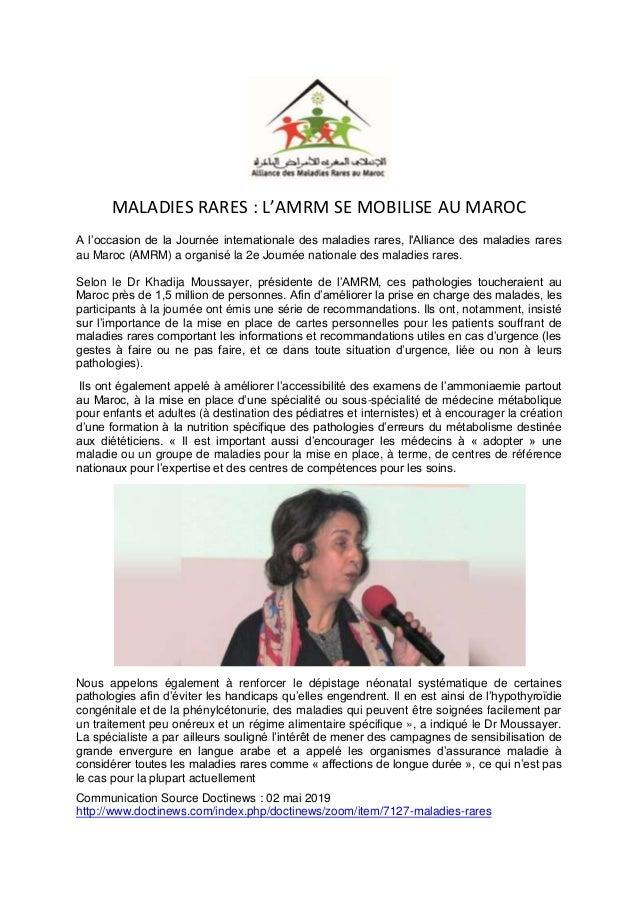 MALADIES RARES : L'AMRM SE MOBILISE AU MAROC A l'occasion de la Journée internationale des maladies rares, l'Alliance des ...