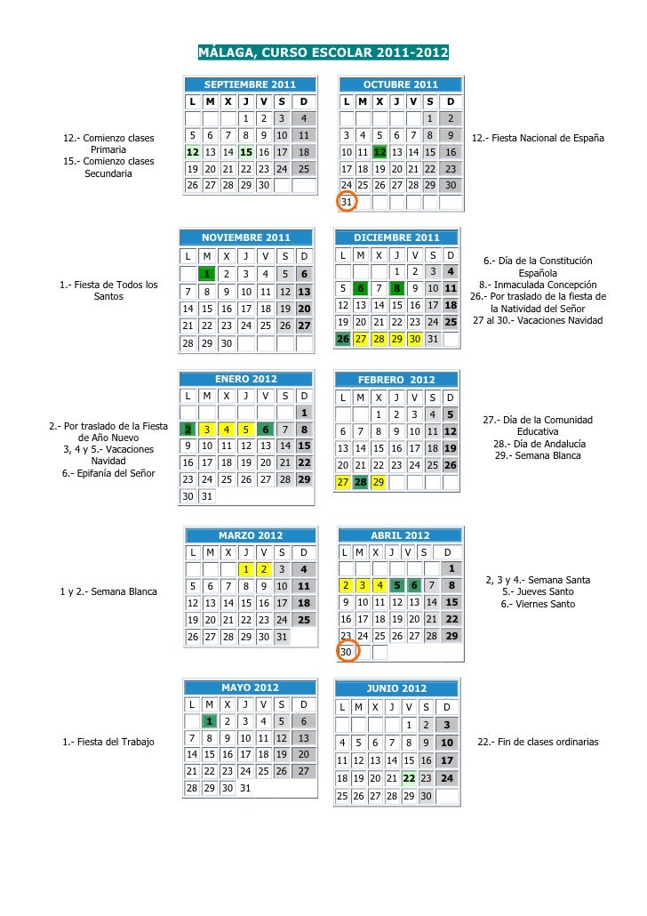 Calendario 2011 Espana.Malaga Calendario Escolar 2011 2012