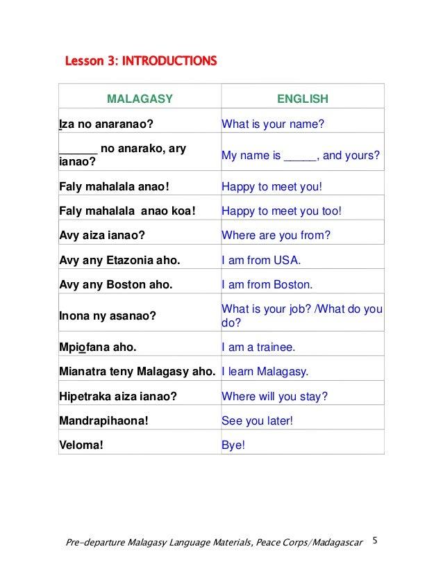 Hello in malagasy