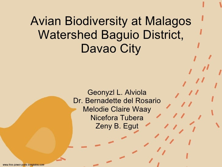 Avian Biodiversity at Malagos Watershed Baguio District, Davao City Geonyzl L. Alviola Dr. Bernadette del Rosario Melodie ...