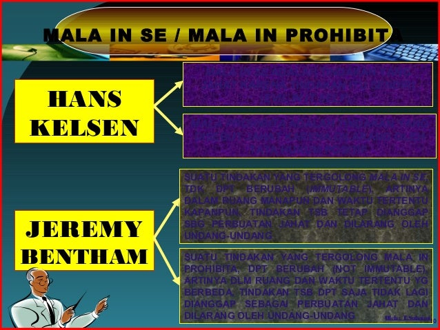 mala in se versus mala prohibita The latin phrases mala in se and mala prohibita (malum in se and malum prohibitum in the singular) are used to distinguish between two categories of criminal actions.