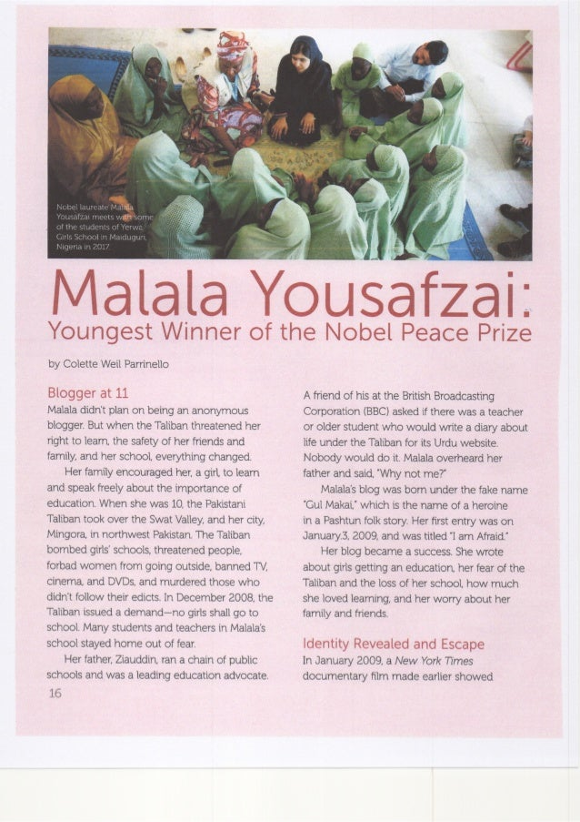 Malala Yousafzai: Youngest Winner of the Nobel Peace Prize by Colette Weil Parrinello, Faces Magazine April 2018 Cricket M...