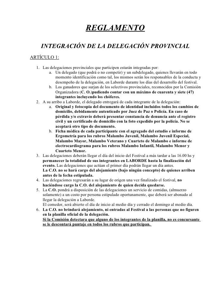 REGLAMENTO      INTEGRACIÓN DE LA DELEGACIÓN PROVINCIAL ARTÍCULO 1:    1. Las delegaciones provinciales que participen est...