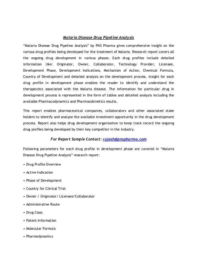 "Malaria Disease Drug Pipeline Analysis ""Malaria Disease Drug Pipeline Analysis"" by PNS Pharma gives comprehensive insight ..."
