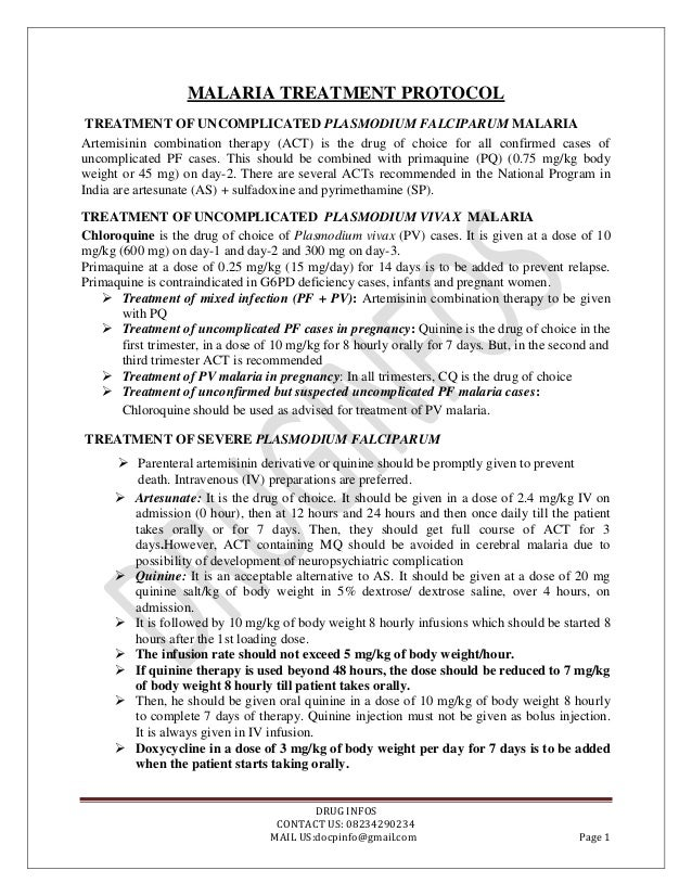 MALARIA TREATMENT PROTOCOL TREATMENT OF UNCOMPLICATED PLASMODIUM FALCIPARUM MALARIA Artemisinin combination therapy (ACT) ...