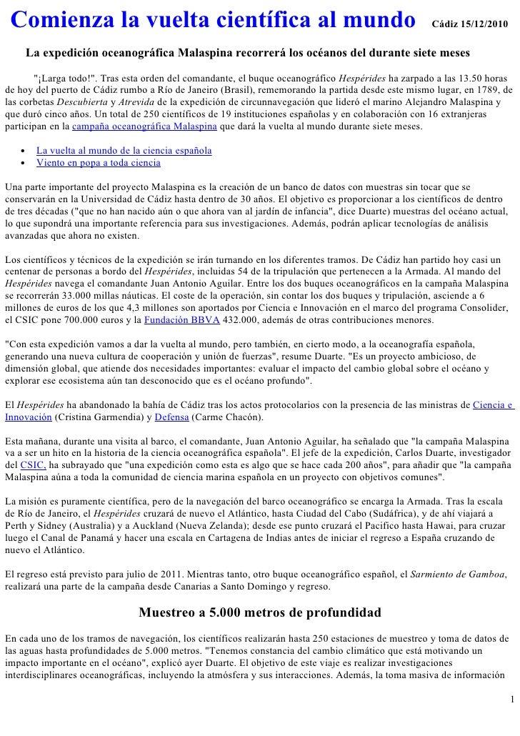 Comienza la vuelta científica al mundo                                                                 Cádiz 15/12/2010   ...