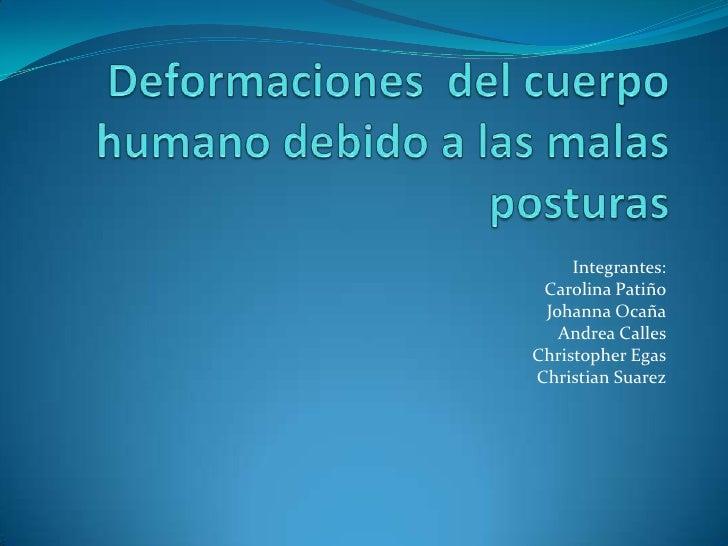 Integrantes: Carolina Patiño Johanna Ocaña   Andrea CallesChristopher EgasChristian Suarez