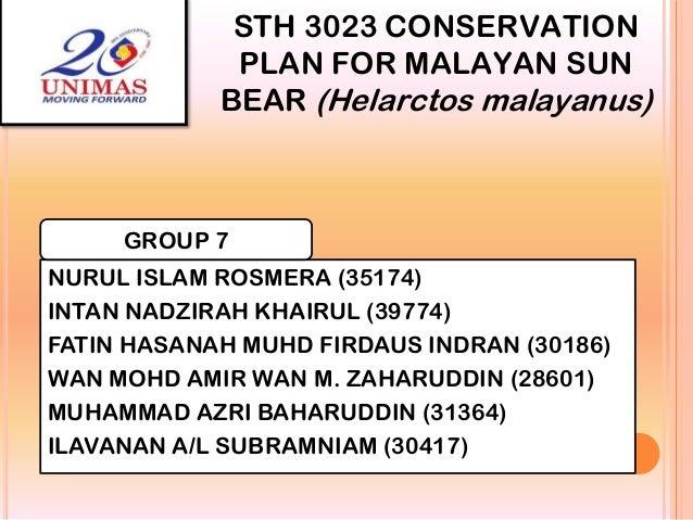 STH 3023 CONSERVATION PLAN FOR MALAYAN SUN BEAR (Helarctos malayanus)  GROUP 7 NURUL ISLAM ROSMERA (35174) INTAN NADZIRAH ...