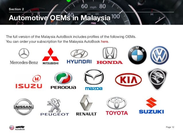 Section 2 Automotive OEMs in Malaysia Page 12 The full version of the Malaysia AutoBook includes profiles of the following ...
