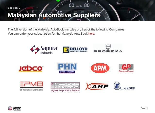 Section 2 Malaysian Automotive Suppliers Page 16 The full version of the Malaysia AutoBook includes profiles of the followi...