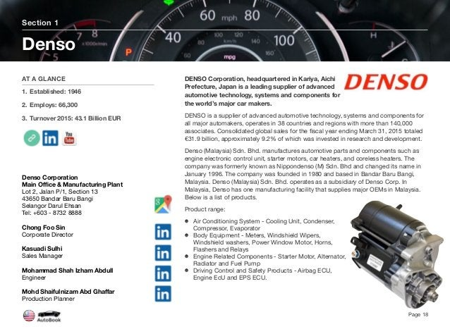 DENSO Corporation, headquartered in Kariya, Aichi Prefecture, Japan is a leading supplier of advanced automotive technolog...