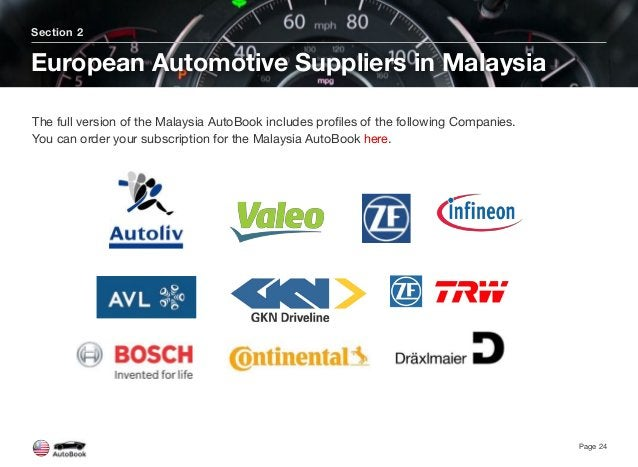 Section 2 European Automotive Suppliers in Malaysia Page 24 The full version of the Malaysia AutoBook includes profiles of ...