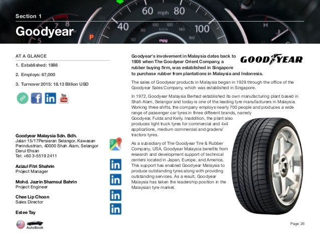 Goodyear's involvement in Malaysia dates back to 1908 when The Goodyear Orient Company, a rubber buying firm, was establish...