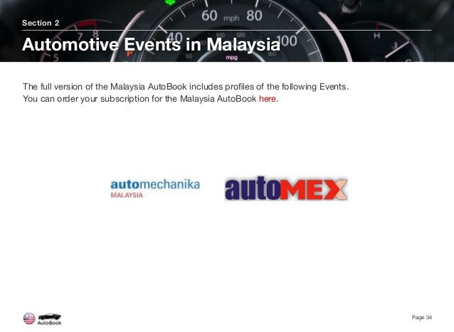 Section 2 Automotive Events in Malaysia Page 34 The full version of the Malaysia AutoBook includes profiles of the followin...