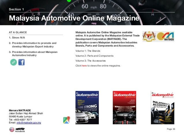 Malaysia Automotive Online Magazine available online. It is published by the Malaysian External Trade Development Corporat...