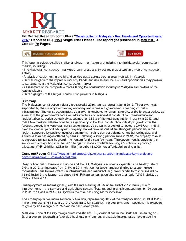 """RnRMarketResearch.com Offers """"Construction in Malaysia – Key Trends and Opportunities to2017"""" Report at US$ 1950 Single Us..."""