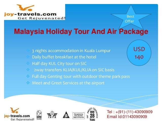 Malaysia Holiday Tour And Air Package  3 nights accommodation in Kuala Lumpur  Daily buffet breakfast at the hotel  Hal...