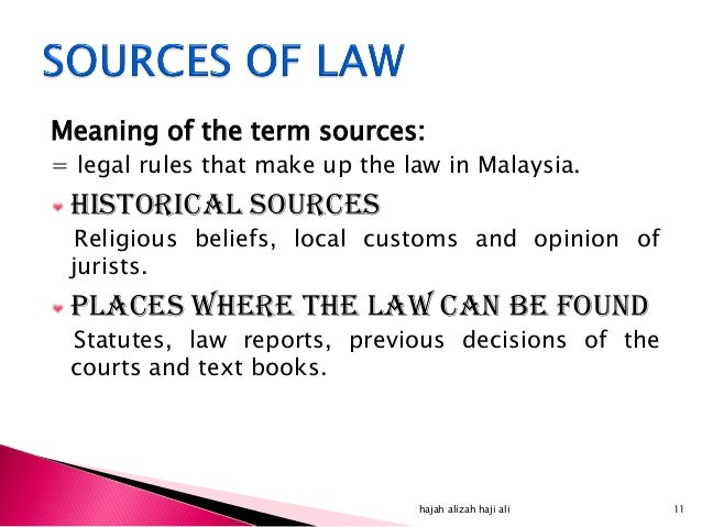 sources of law in malaysia