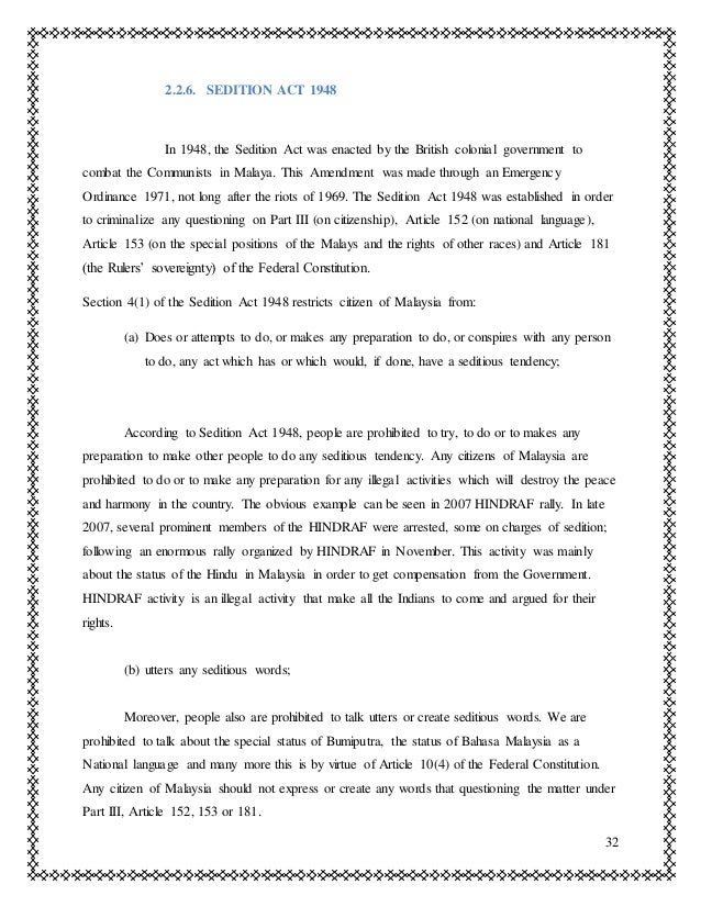 The malaysian sedition act of 1948 essay