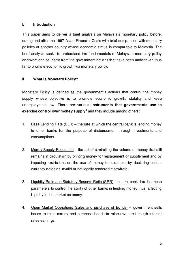 monetary policy term paper