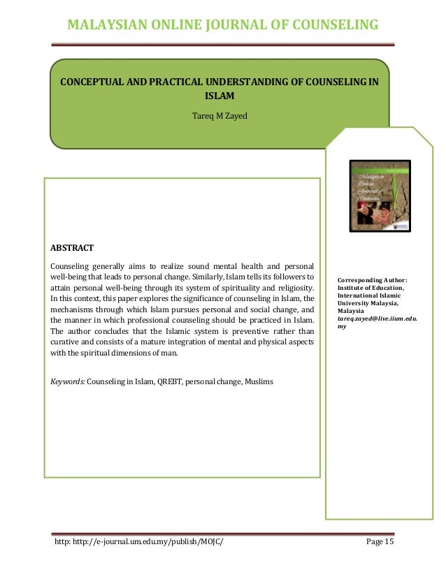 MALAYSIAN ONLINE JOURNAL OF COUNSELING http: http://e-journal.um.edu.my/publish/MOJC/ Page 15 CONCEPTUAL AND PRACTICAL UND...