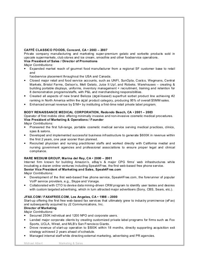 m albert 2015 marketing sales resume
