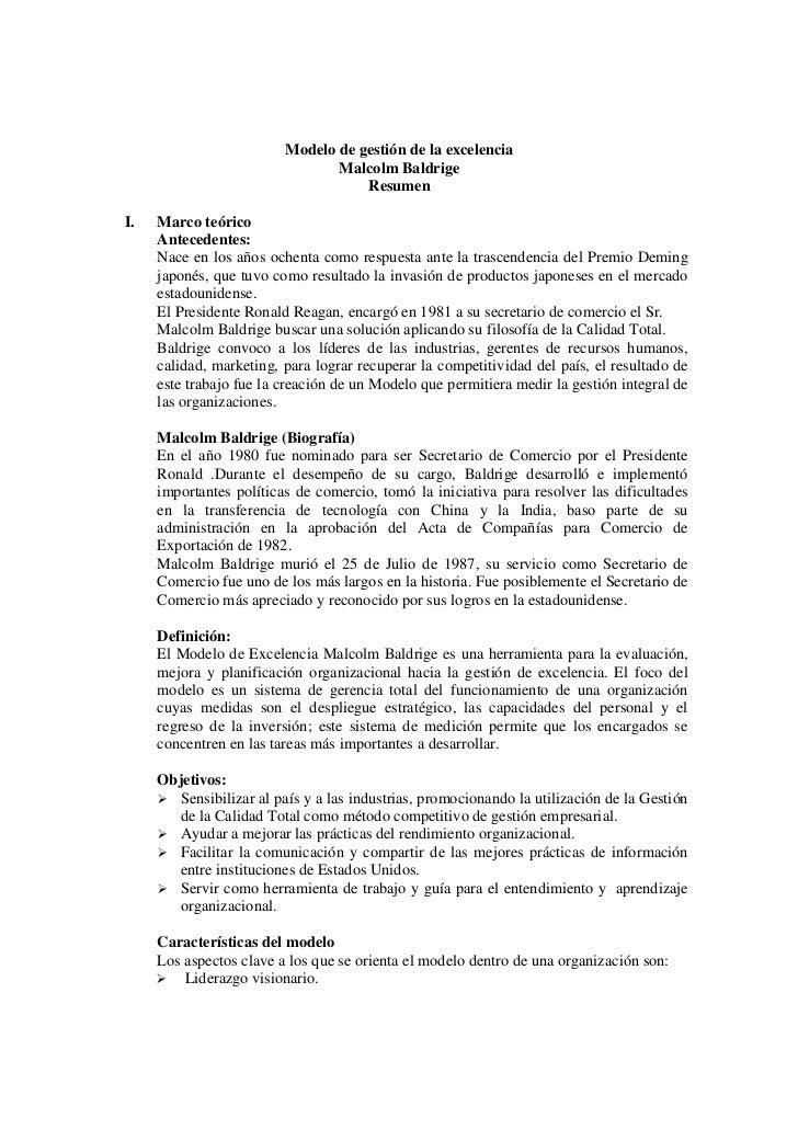 Modelo de gestión de la excelencia                                 Malcolm Baldrige                                     Re...