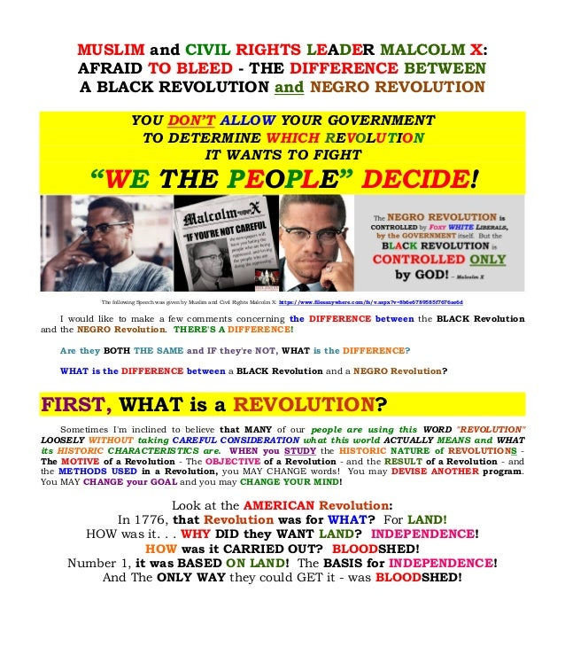MUSLIM and CIVIL RIGHTS LEADER MALCOLM X:  AFRAID TO BLEED - THE DIFFERENCE BETWEEN  A BLACK REVOLUTION and NEGRO REVOLUTI...